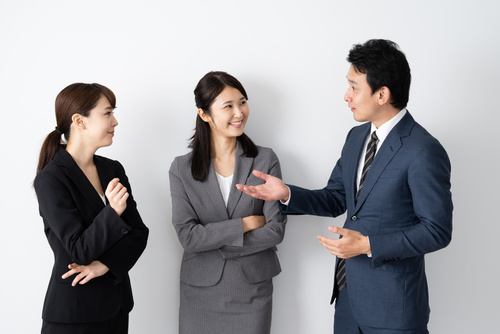 portrait of asian businessgroup talking on white background