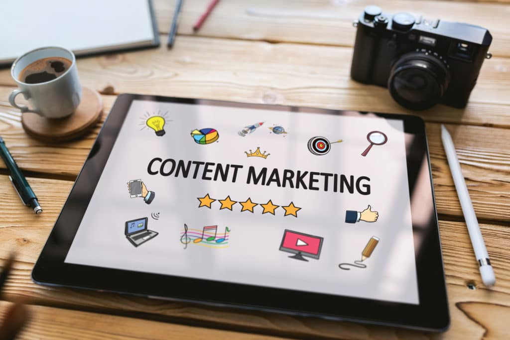 content marketing on tablet