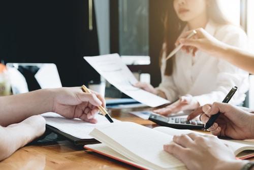 Business People Analyzing Statistics Business Documents, Financi