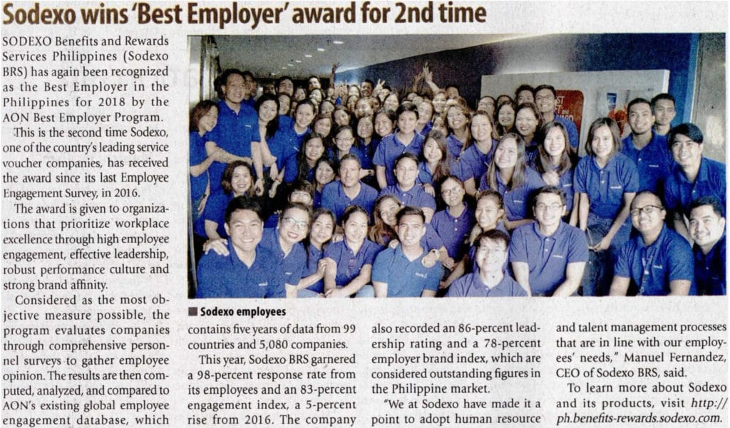 Sodexo BRS Philippines as the Best Employer 2018