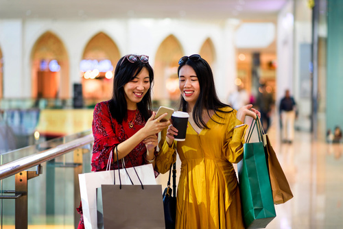 Girls doing shopping in the mall
