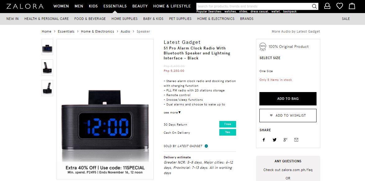 Alarm Clock Radio with Bluetooth Speaker - ZALORA
